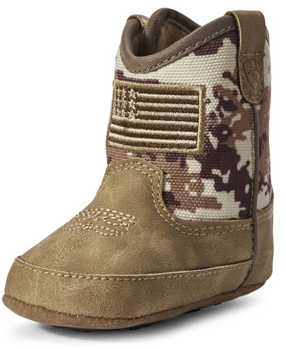 Ariat Infant Lil' Stompers Camo Dallas Cowboy Boots w/ Flag - Medium Brown