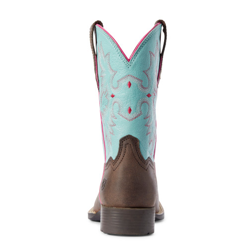 Ariat Kid's Square Toe Tombstone Cowgirl Boots - Brown/Blue