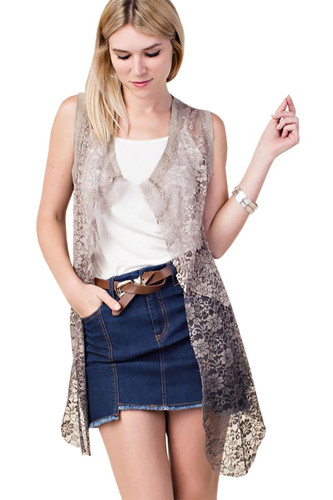 Women's Ombre Lace Vest w/ Lace Up Back - Stone