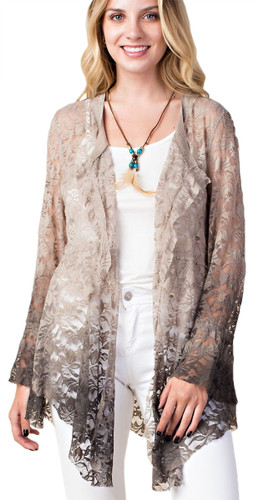 Women's Ombre Lace Jacket w/ Lace Up Back - Stone