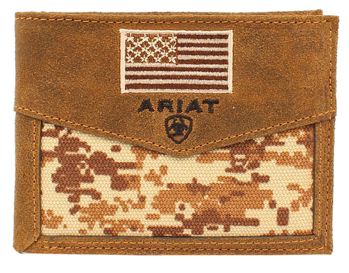 Ariat Men's Camo Bi-fold Wallet w/ Embroidered Flag - Medium Brown
