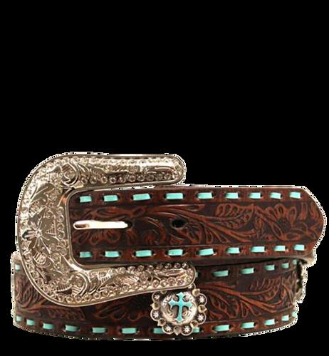 Nocona Women's Embossed Belt w/Turquoise Lacing - Brown