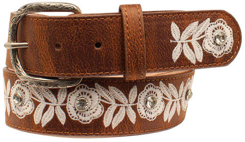 Women's Angel Ranch White Floral Embroidery Belt - Brown