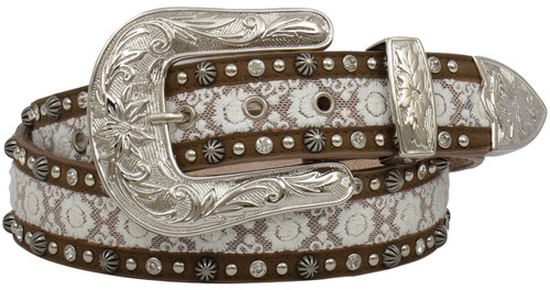 Women's Angel Ranch Lace InlayBelt - Brown