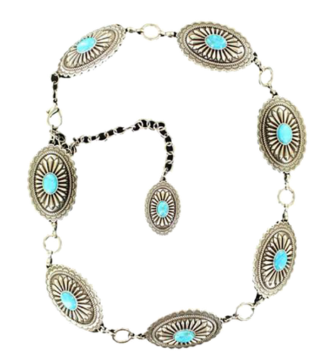 Ariat Women's Chain Concho Chain Belt w/Turquoise - Silver