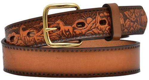 """3D Belt Co. Boy's 1 1/4"""" Embossed Beltw/Horse Design- Brown"""