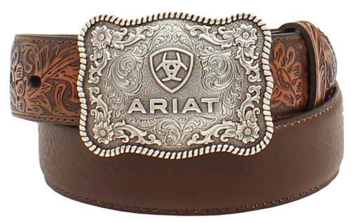 Boy'sAriatTooled Belt w/ Silver Ariat Logo Buckle - Brown