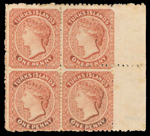 Turks Islands Scott 5 Gibbons 5 Block of Stamps