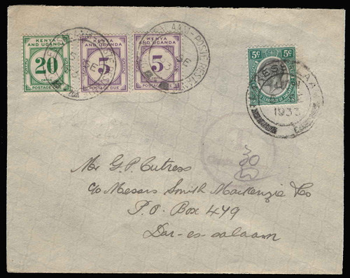 Kenya, Uganda and Tanganyika Scott J1 Gibbons D1-D6 on Cover