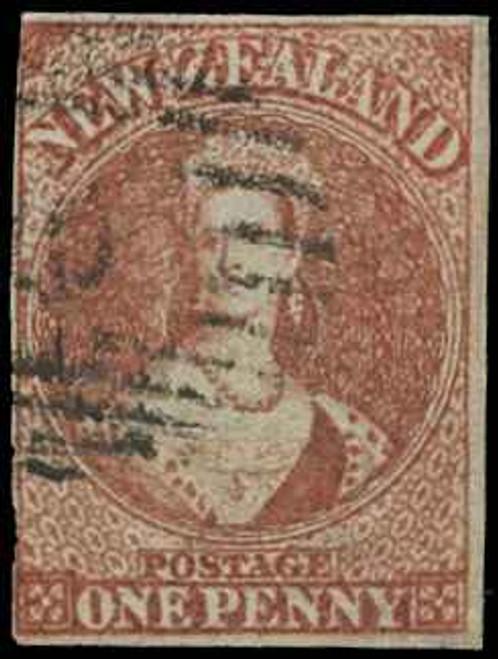 New Zealand Scott 1 Gibbons 1 Used Stamp