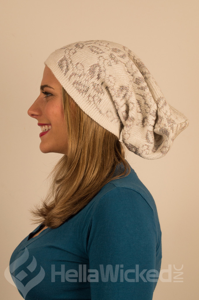 HellaWicked Cream with Silver Slouchy Beanie