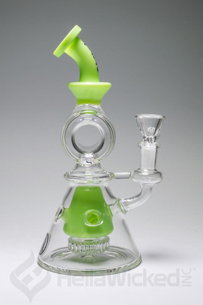 MAV Glass Pyramid Swiss Showerhead Bent Neck Rig - Lime Green Side View