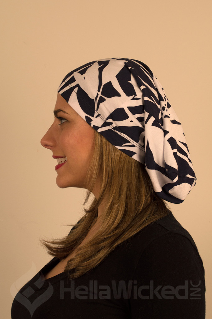 HellaWicked Lightweight Blue and White Pattern Slouchy Beanie