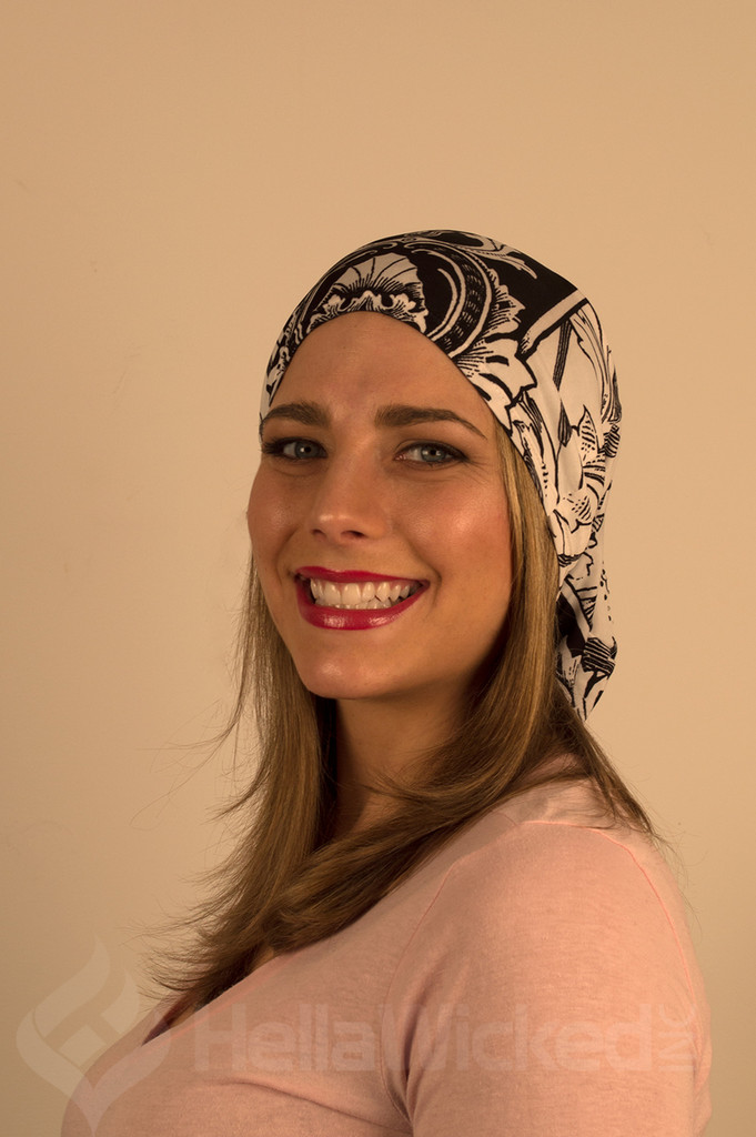 HellaWicked Lightweight Black and White Pattern Slouchy Beanie