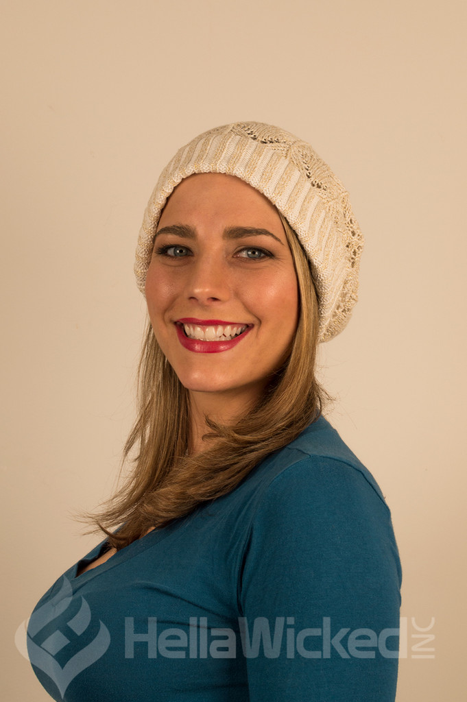 HellaWicked Gold and Cream Slouchy Beanie
