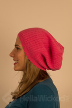 HellaWicked Pink Ribbed Slouchy Beanie