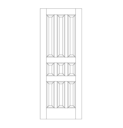 9-Panel Wood Door (DR9020)