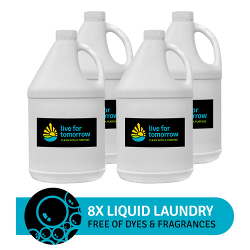 8x Liquid Laundry, Unscented, 380 loads, 3.8L I 1G, Case of 4