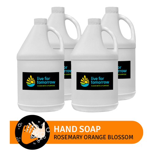 Hand Soap, Rosemary Orange Blossom, with Coconut & Sunflower Moisturizer, 3.8L | 1G, Case of 4