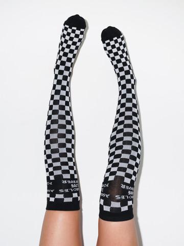 ALF CHECKERBOARD • Black Knee High Socks