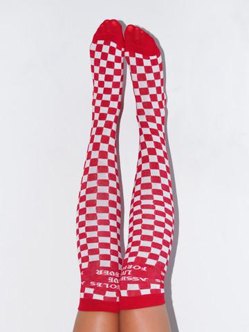 ALF CHECKERBOARD • Red Knee High Socks
