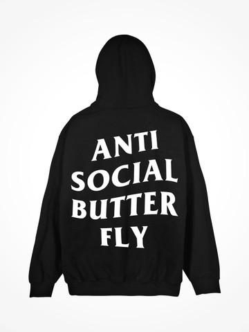 ANTI SOCIAL BUTTERFLY • Black Hoodie