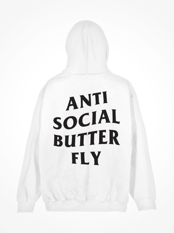 ANTI SOCIAL BUTTERFLY • White Hoodie