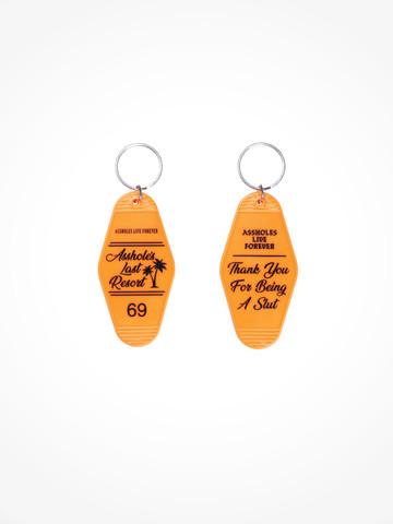 ASSHOLES LAST RESORT •  Orange Black Motel Keychain