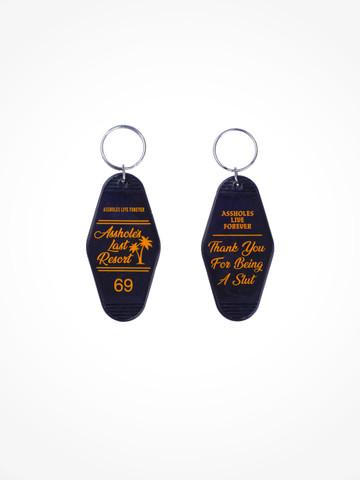 ASSHOLES LAST RESORT • Black Orange Motel Keychain