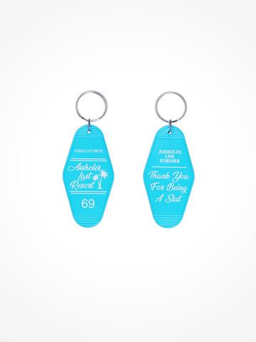 ASSHOLES LAST RESORT • Blue White Motel Keychain