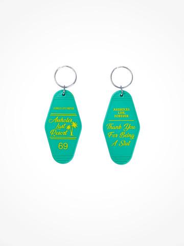 ASSHOLES LAST RESORT • Green Yellow Motel Keychain