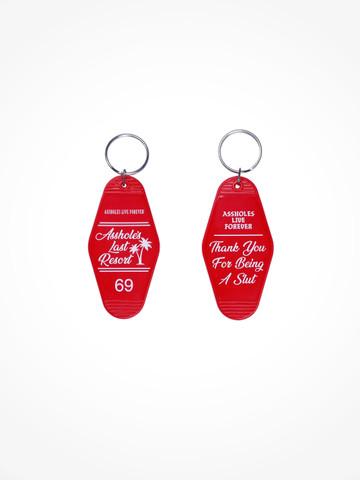 ASSHOLES LAST RESORT • Red White Motel Keychain