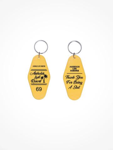 ASSHOLES LAST RESORT • Yellow Black Motel Keychain