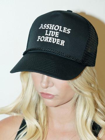 ASSHOLES LIVE FOREVER • Black Trucker Hat