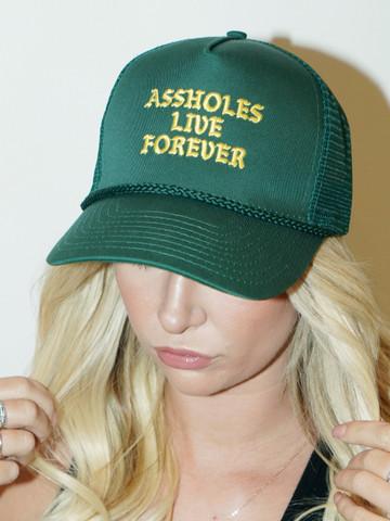 ASSHOLES LIVE FOREVER • Green Trucker Hat