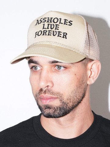ASSHOLES LIVE FOREVER • Tan Trucker Hat