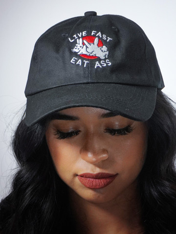 LIVE FAST EAT ASS • Black Dad Hat