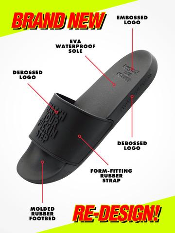 WATCH YOUR FUCKIN STEP • Black Supersoft Slides