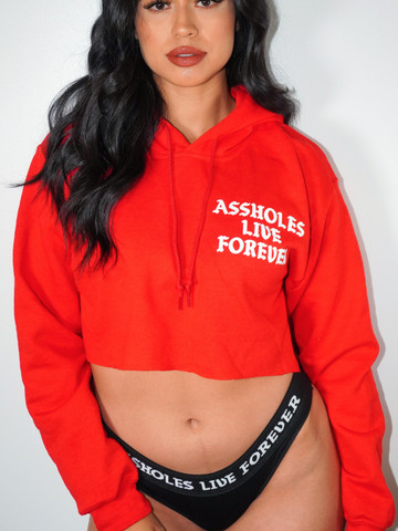 ASSHOLES LIVE FOREVER • Red Crop Hoodie
