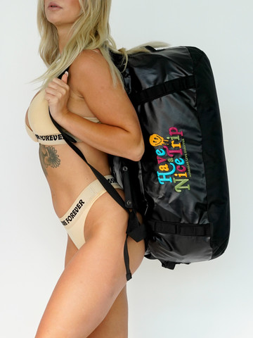 HAVE A NICE TRIP  • Black Camping Duffle Bag