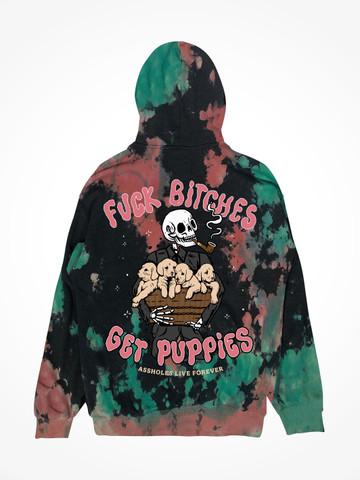 FUCK BITCHES GET PUPPIES • Lava Lamp Tie Dye Hoodie