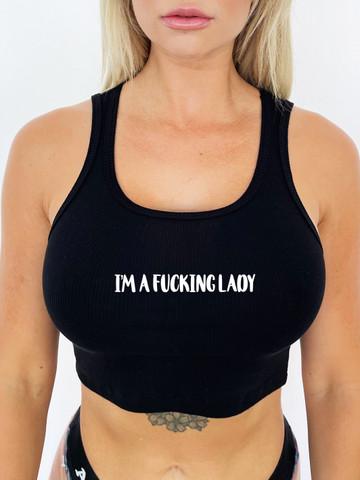 IM A FUCKING LADY • Black Ribbed Crop Tank