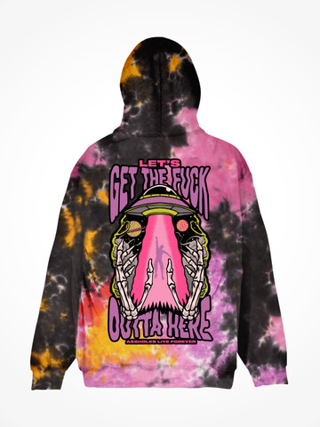 LETS GET THE FUCK OUTTA HERE ABDUCTION • Sunset Tie Dye Hoodie