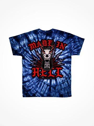 MADE IN HELL • Electric Blue Tie Dye Tee