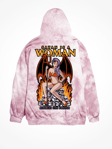 SATAN IS A WOMAN • Bubblegum Tie Dye Hoodie
