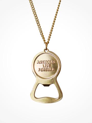 ASSHOLES LIVE FOREVER • Gold Bottle Opener Necklace