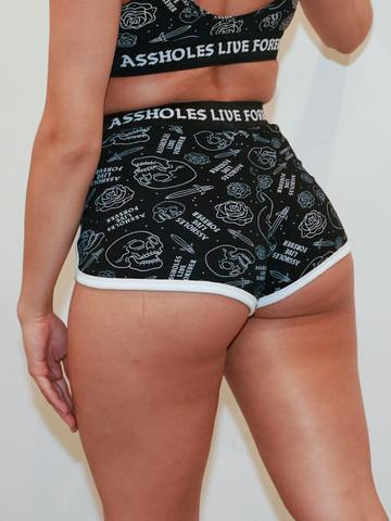 ALF SKULLS AND DAGGERS • Black Booty Shorts