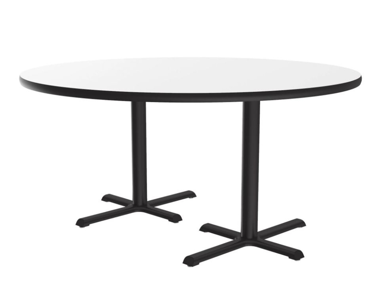 """Café and Breakroom Table - 60"""" Round, 2 Cross Bases and 2 Columns"""
