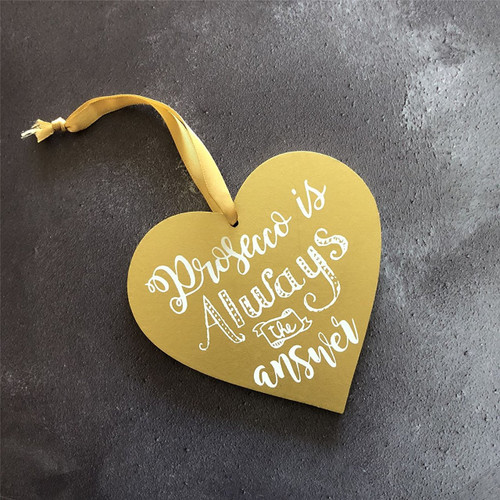 Gold Prosecco Heart Decoration