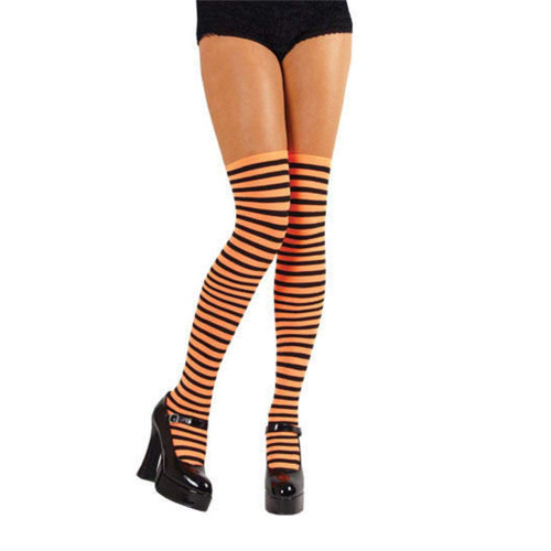 Halloween Orange & Black Striped Stockings - Fancy Dress, Witches Stockings.